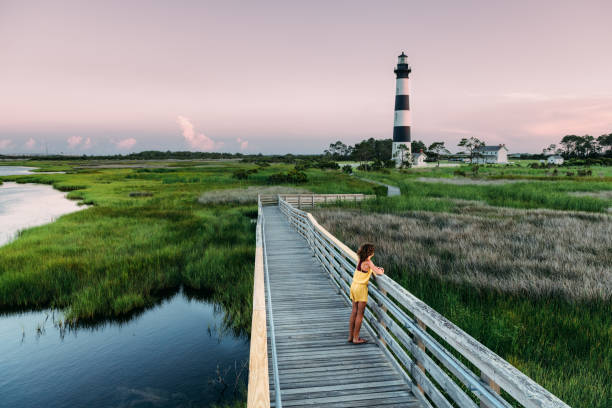 Girl Exploring the Outer Banks stock photo