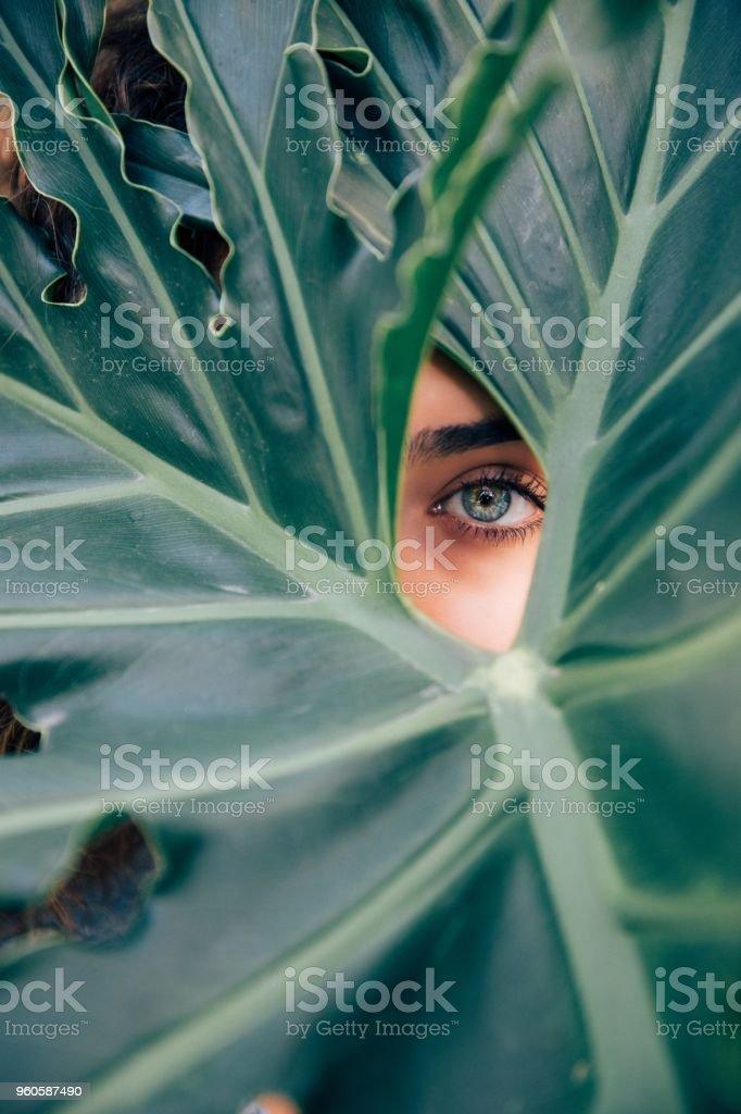 여자아이 눈 스톡 사진