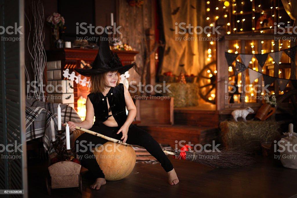Girl fairy, witch on  broom with pumpkin. Halloween Lizenzfreies stock-foto