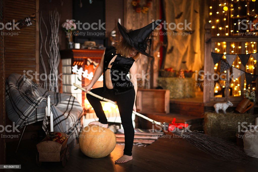 Girl fairy, witch on  broom with pumpkin. Halloween photo libre de droits