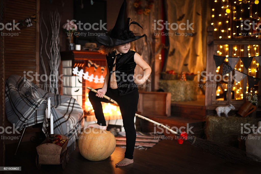 Girl fairy, witch on  broom with pumpkin. Halloween Lizenzfreies stock-foto