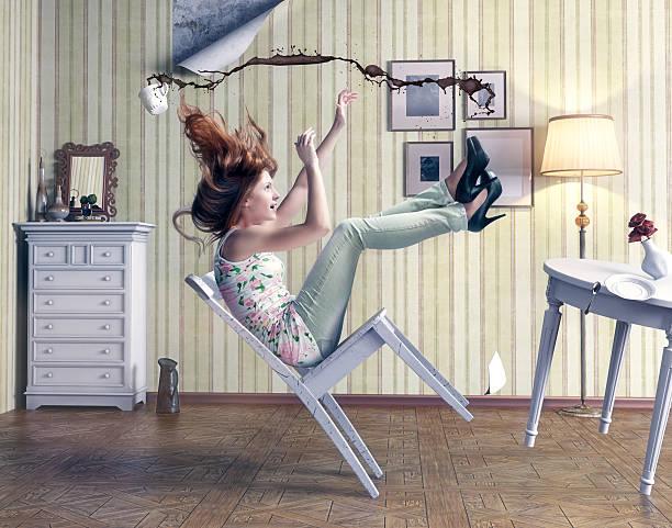 girl falls stock photo