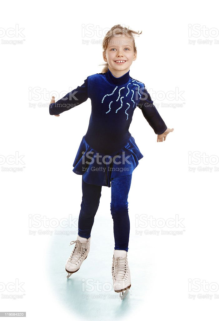 Girl figure skating. stock photo