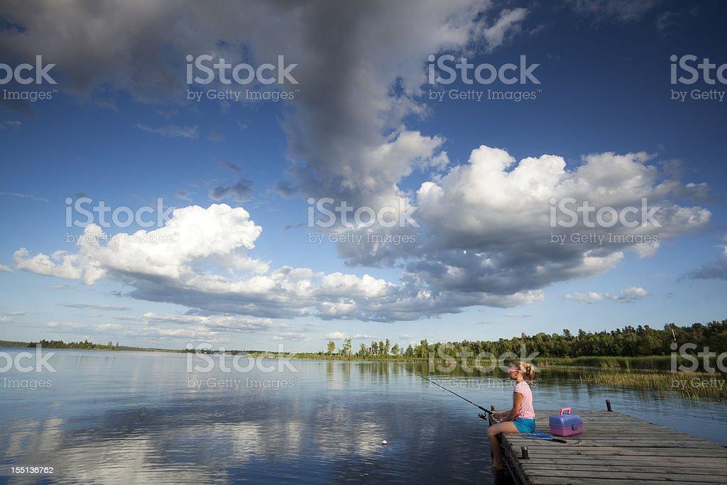 Girl Fishing royalty-free stock photo