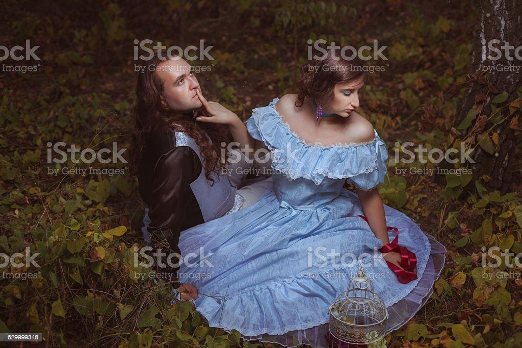 Girl flirting with a man, retro. stock photo