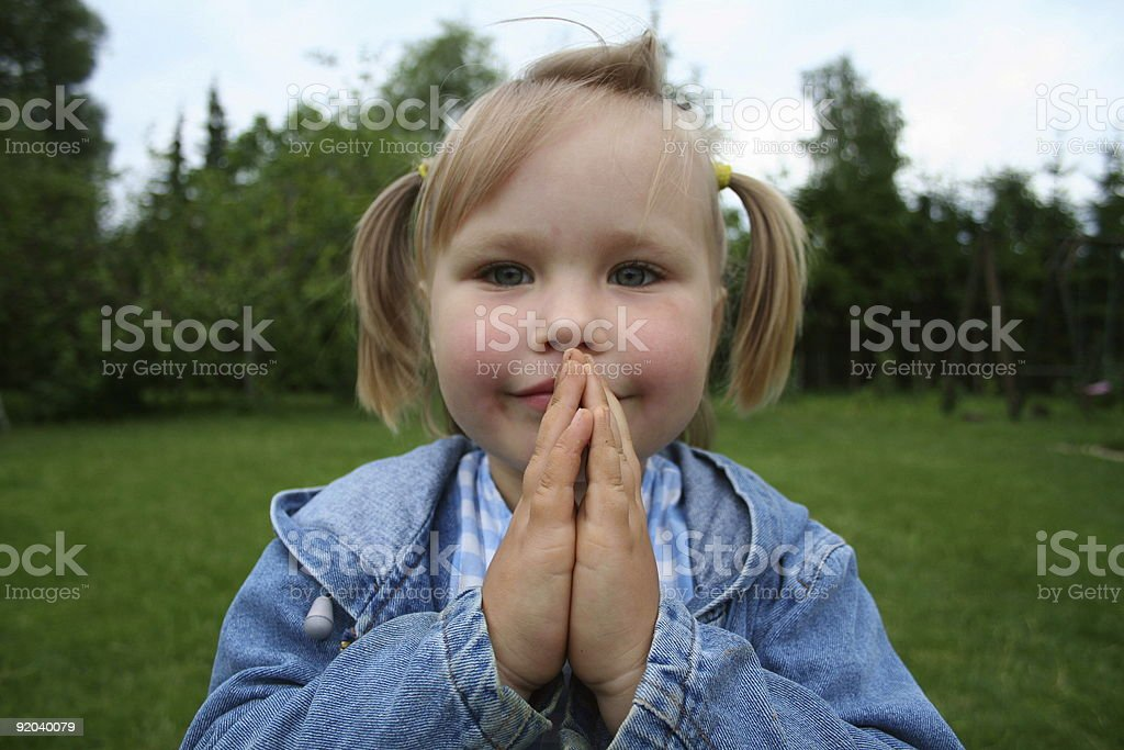 Girl Folding Her Hands royalty-free stock photo