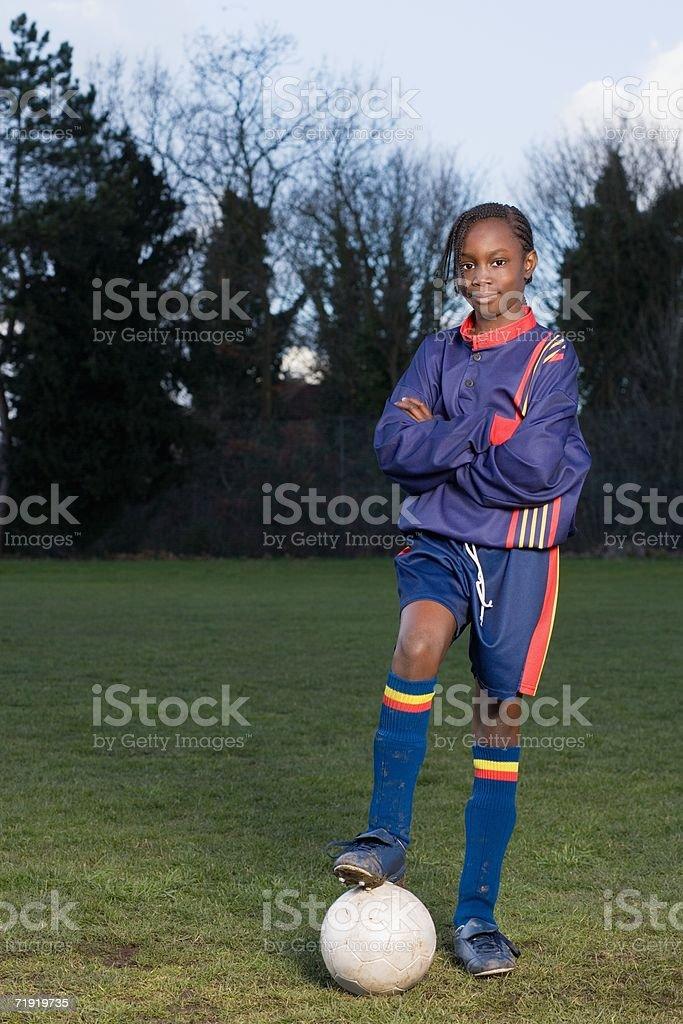 Girl footballer royalty-free stock photo