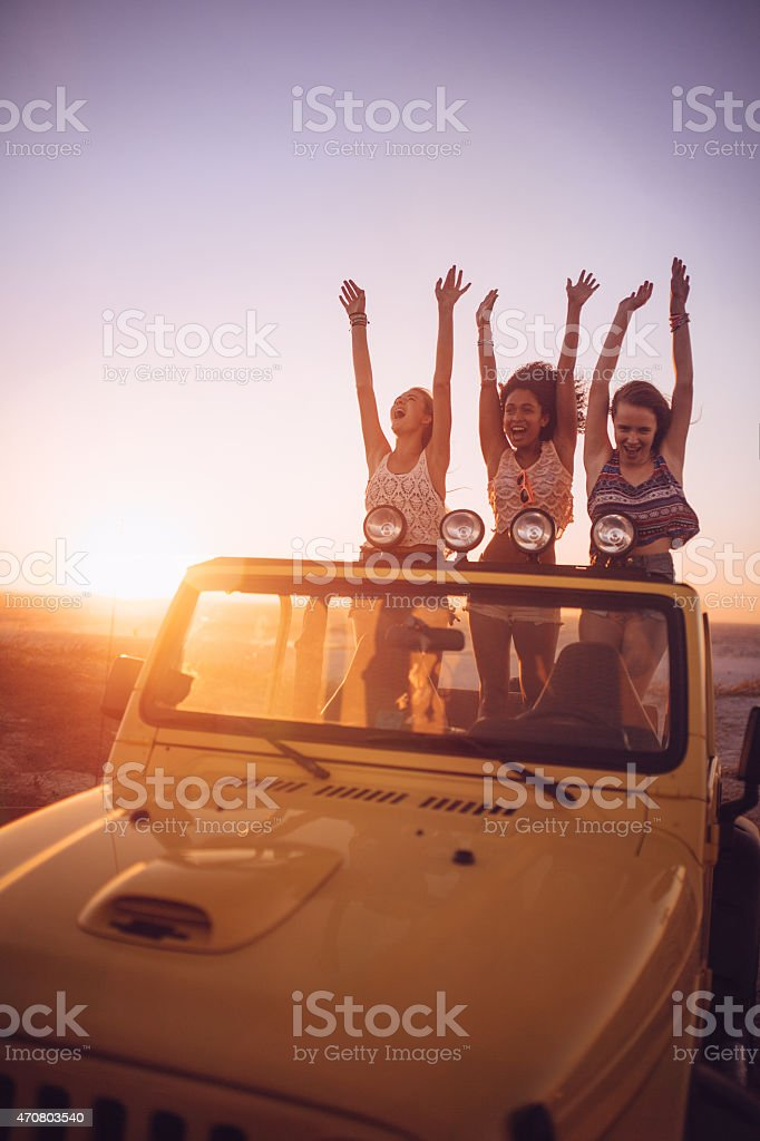 Happy girl friends dancing in the back of their vehicle at sunset...