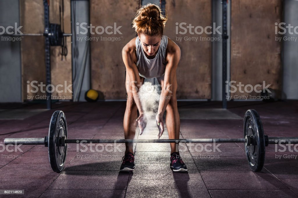 Girl getting ready for  training stock photo