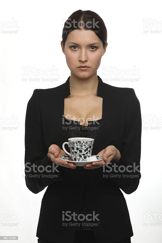 girl gives drink royalty-free stock photo