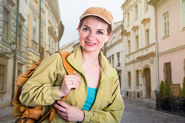 girl going on a journey stock photo