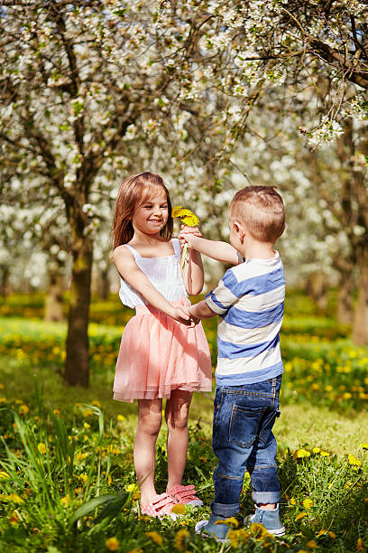 girl got a dandelion flower - little girls giving head stock photos and pictures