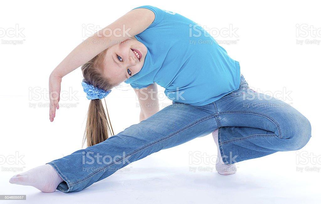 Femme gymnaste sur fond blanc photo libre de droits