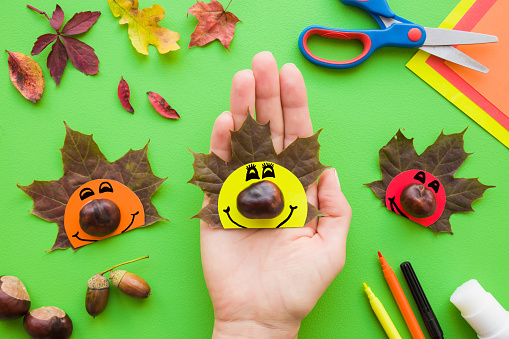 Girl hand holding cute hedgehog who created from brown maple leaf, chestnut and paper. Autumn decorations. Colorful application paper, scissors, glue stick and color pens on green desk. Top view.