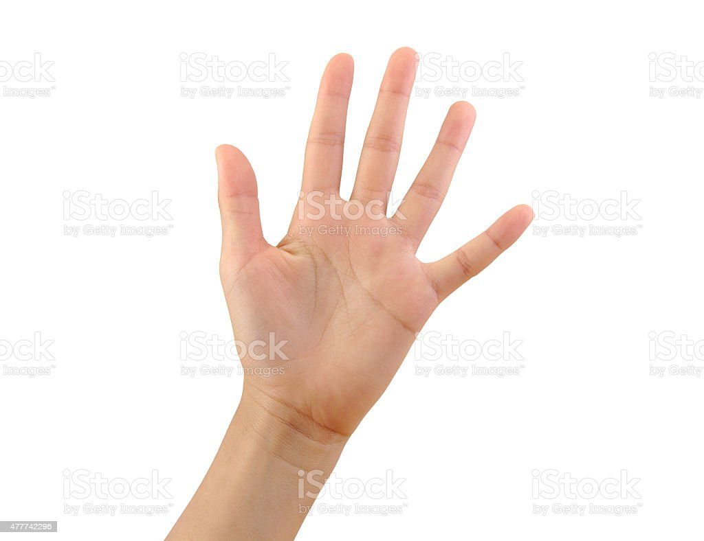 Girl hand showing five fingers isolated on a white background stock photo