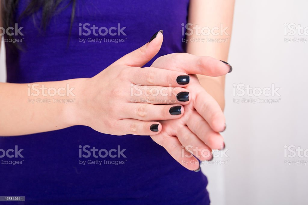 Girl hands and applause stock photo
