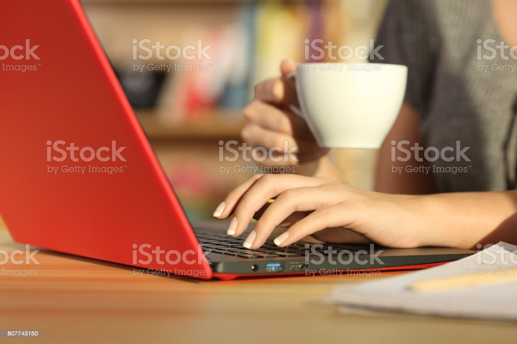 Girl hands checking on line with a laptop at home stock photo