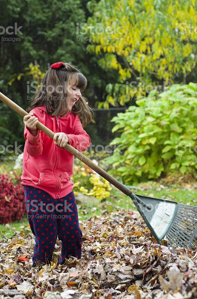 girl happily rakes up leaves royalty-free stock photo