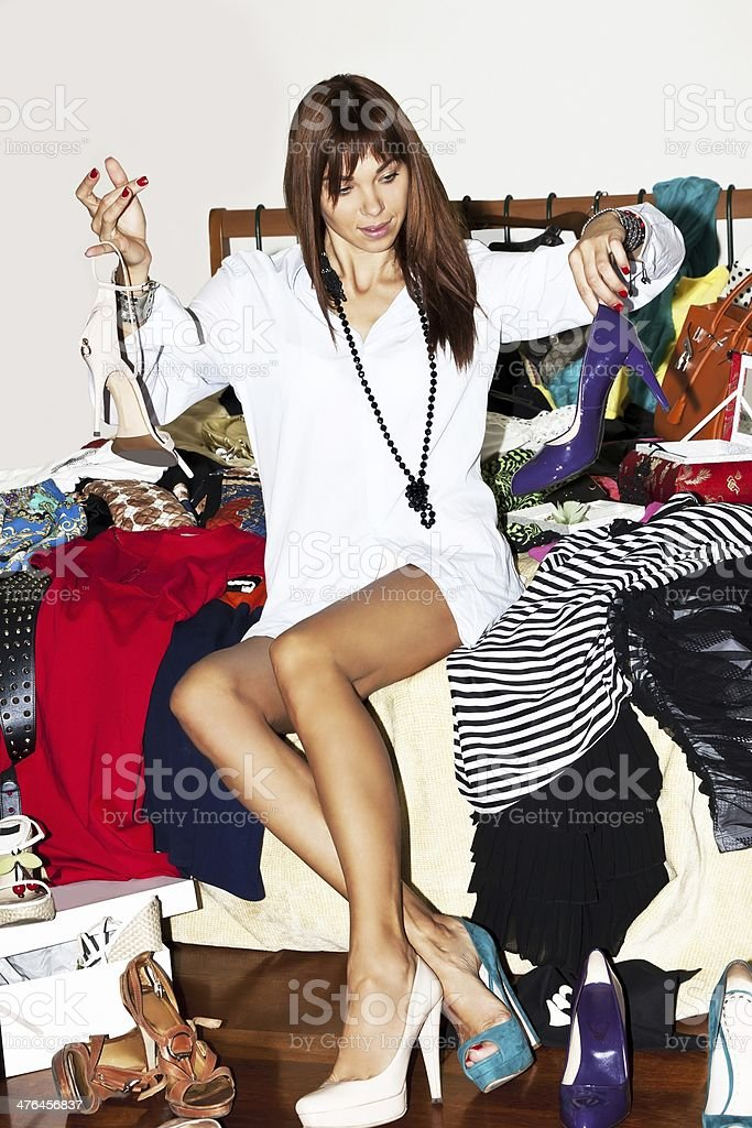 Girl happy new shoes stock photo