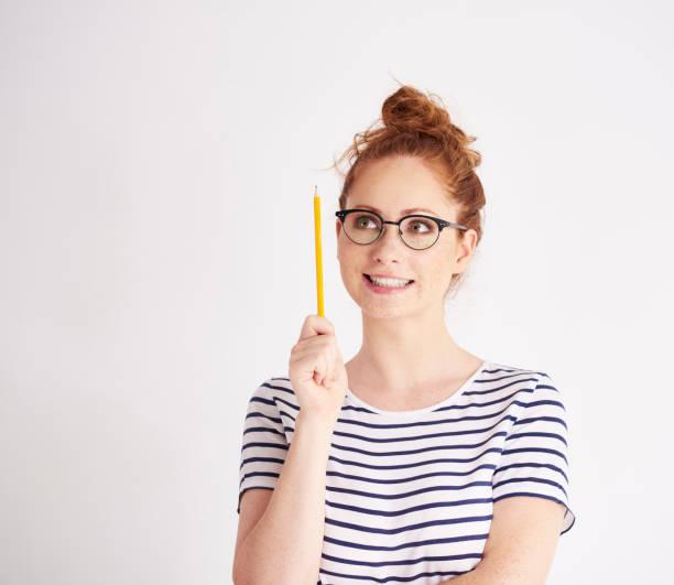 Girl has got a great idea stock photo