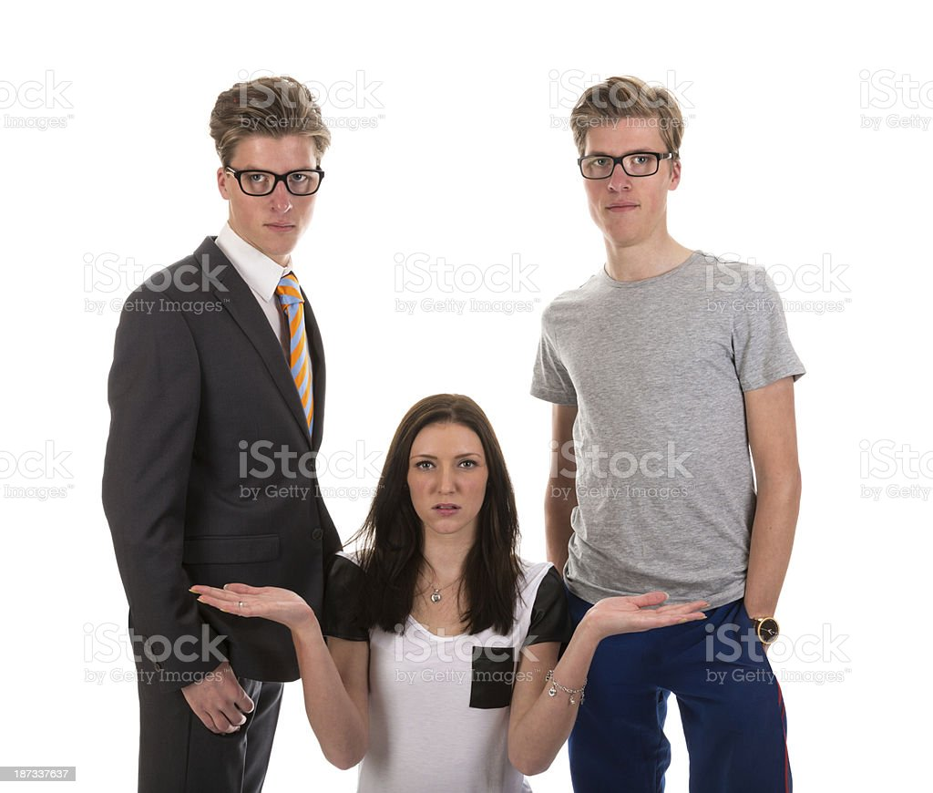 Girl Has To Choose One Boy From Two Twin Brothers Stock Photo
