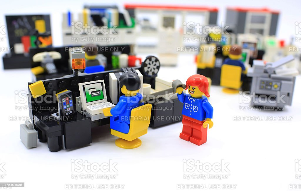 girl hate you Hong Kong, Сhina - March 25, 2015:  Studio shot of Lego people in office, combine from different set. Legos are a popular line of plastic construction toys manufactured by The Lego Group in Denmark Lego Stock Photo