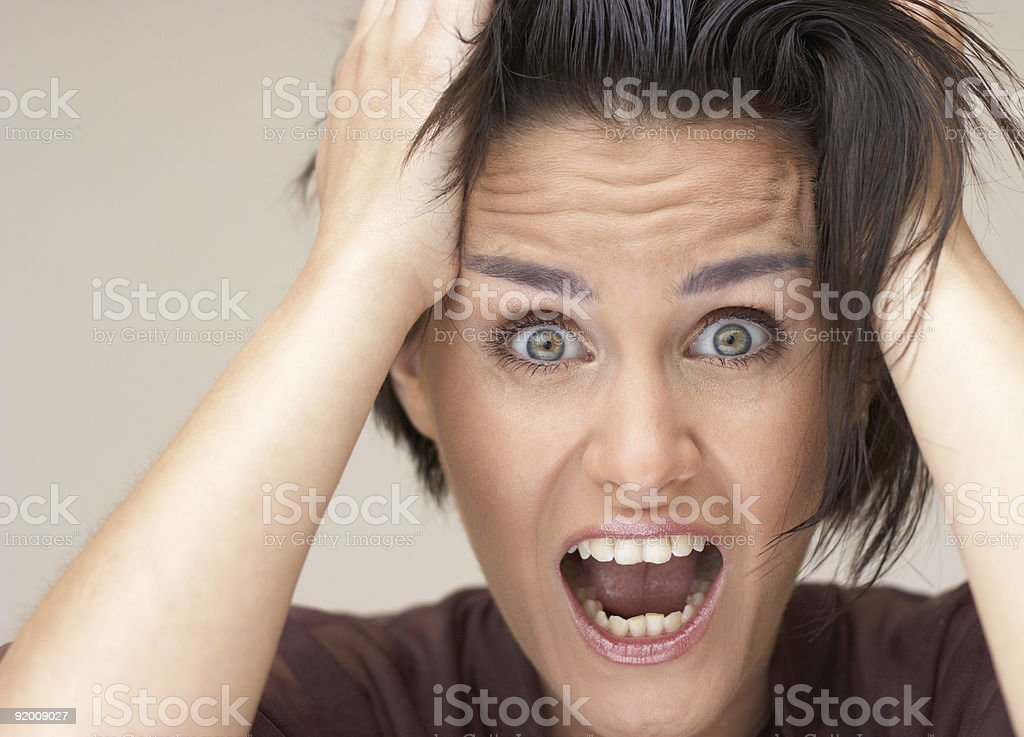 girl have a real shock stock photo