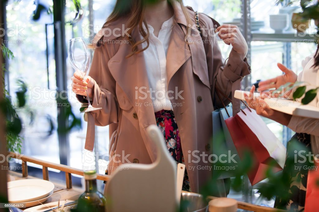 girl have a wine glass in hand. stock photo