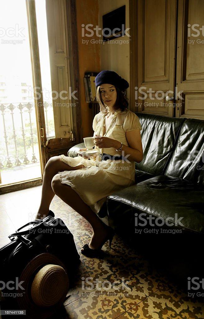 Girl havin tea royalty-free stock photo
