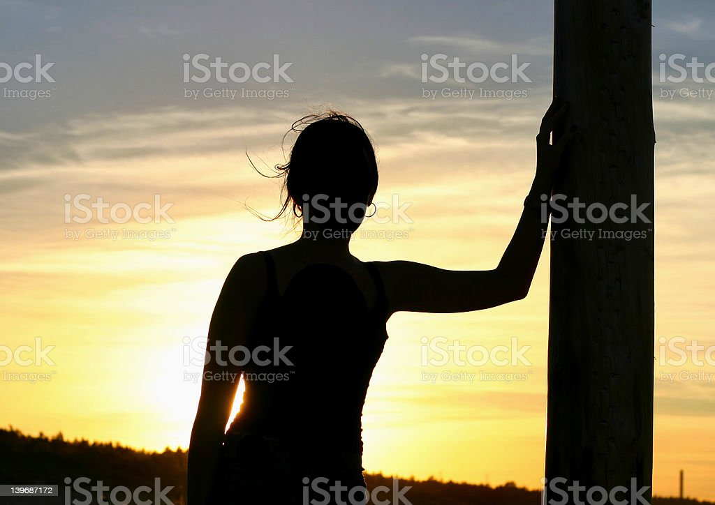 girl having a sunset rest #2 royalty-free stock photo