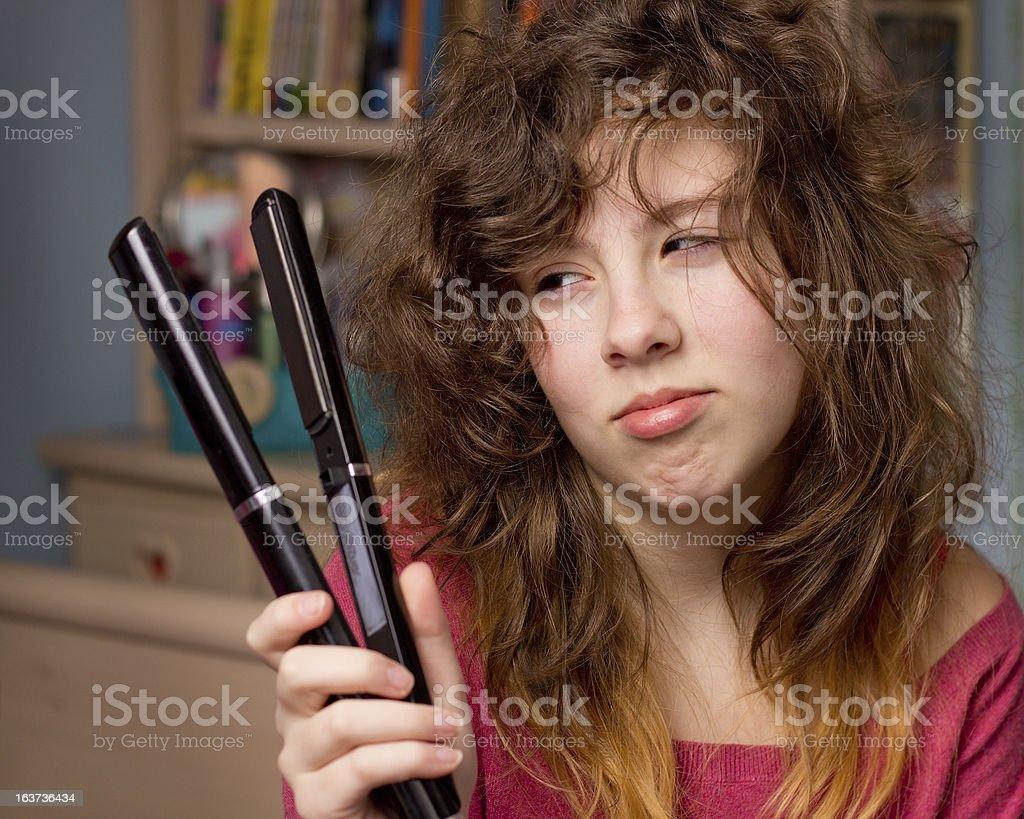 Girl having bad hair day royalty-free stock photo