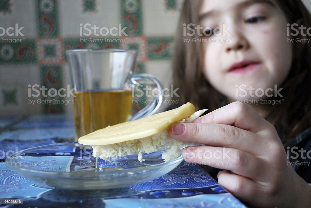 girl having her breakfast in the morning royalty-free stock photo