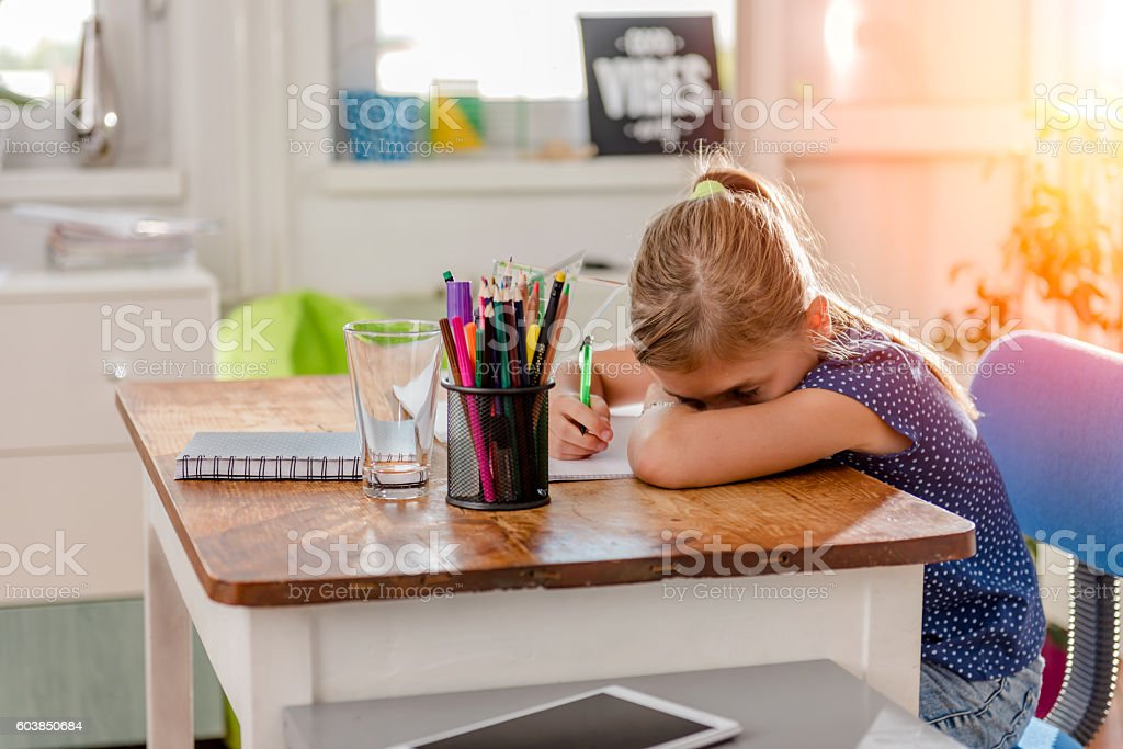 Girl having problem with learning stock photo