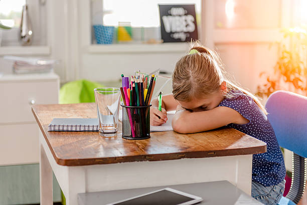 girl having problem with learning - homework stock photos and pictures
