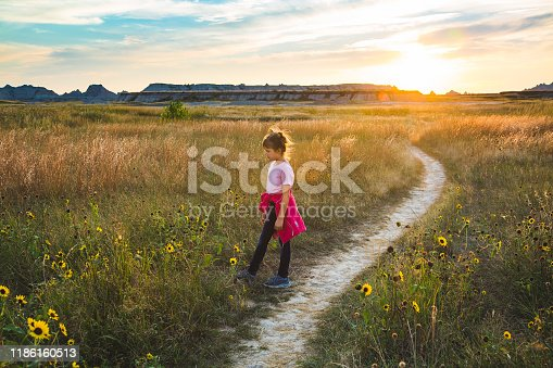 A young girl stands beside a trail in the Badlands in tall waving grass and wild sunflowers at sunset.