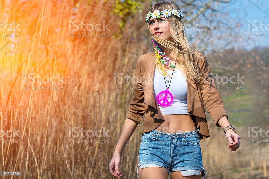 Girl hippie indie style in nature stock photo