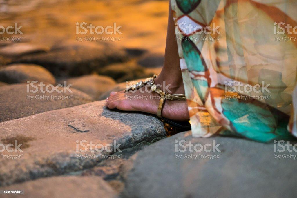Girl historical streets Paraty, Rio de Janeiro, Brazil stock photo
