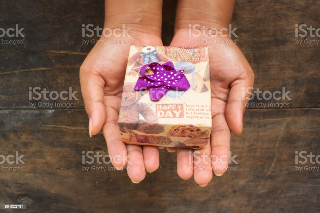 Girl Hold Brown Gift Box - Royalty-free Adult Stock Photo