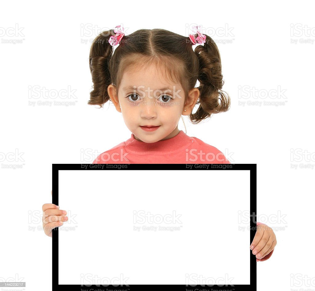 Girl holding a blank sign royalty-free stock photo