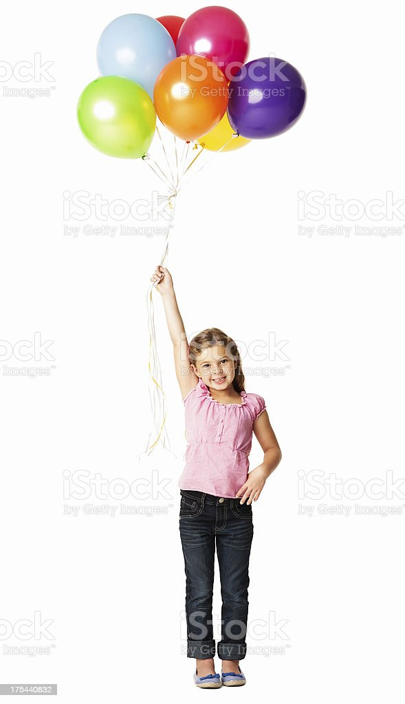 Girl Holding a Bunch Of Balloons - Isolated stock photo