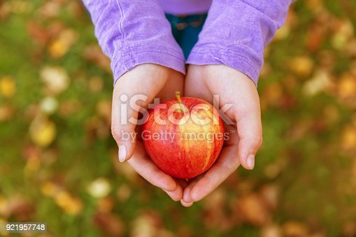 865889676 istock photo Girl holding a red apple in her hands 921957748