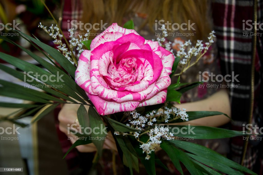 Female arranging a bouquet in a flower shop, working, hands holding a...