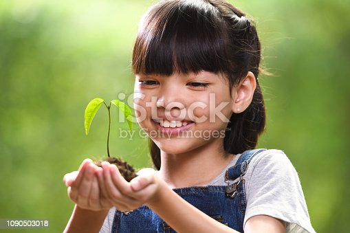 istock A girl holding a young plant in her hands 1090503018