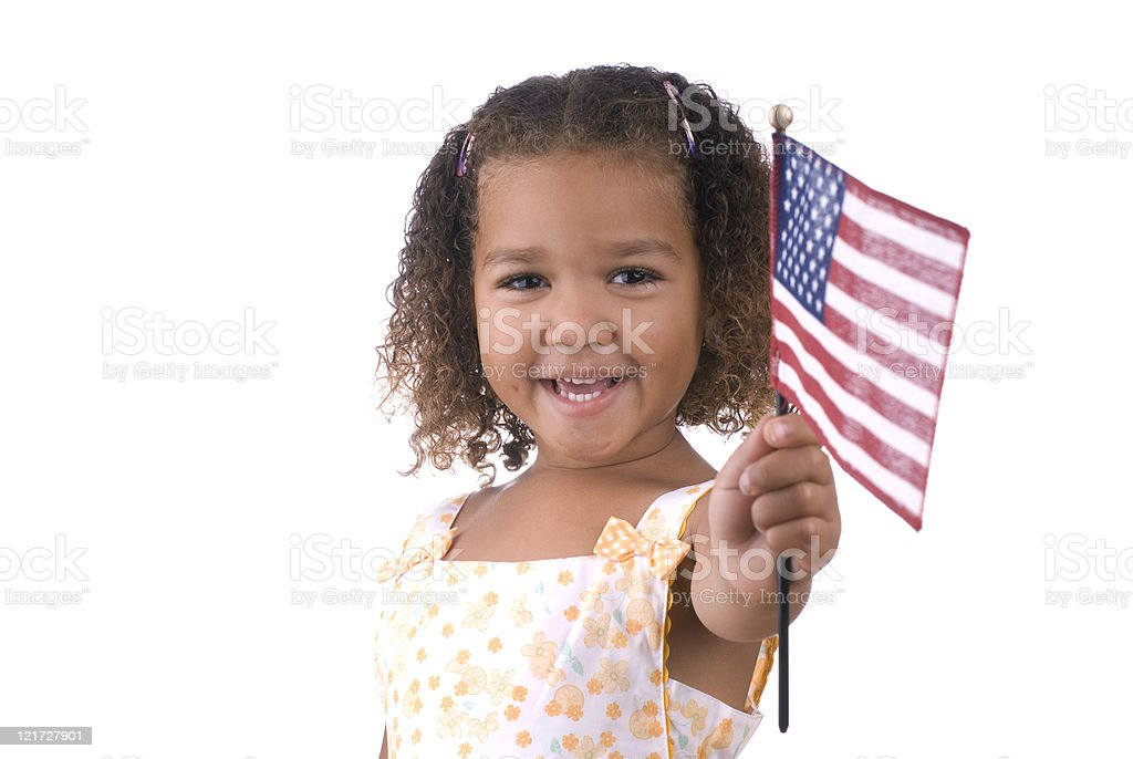 Girl holding American flag royalty-free stock photo