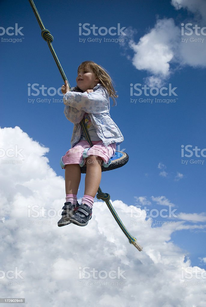 girl holding at a rope royalty-free stock photo