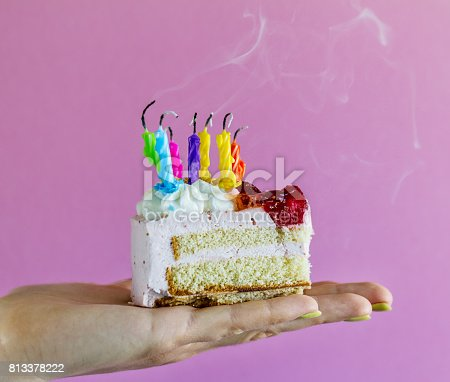 istock Girl holding beautiful appetizing birthday cake with many blown candles. Closeup. 813378222