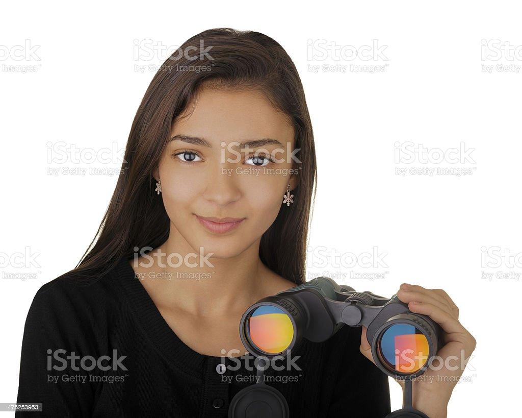 Girl Holding Binoculars royalty-free stock photo