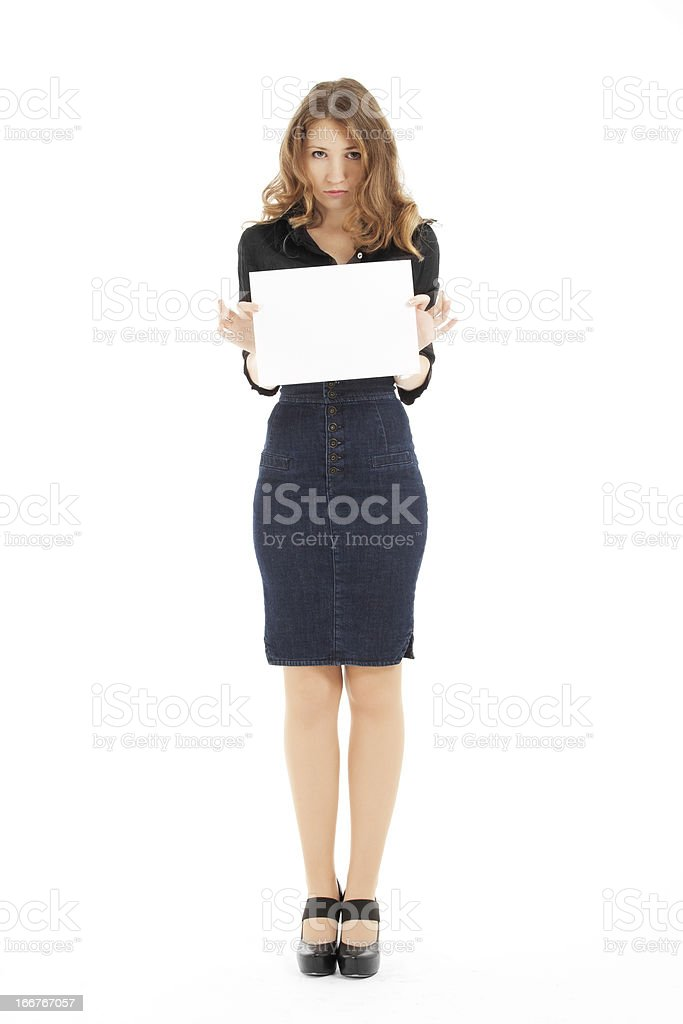 girl holding blank paper royalty-free stock photo