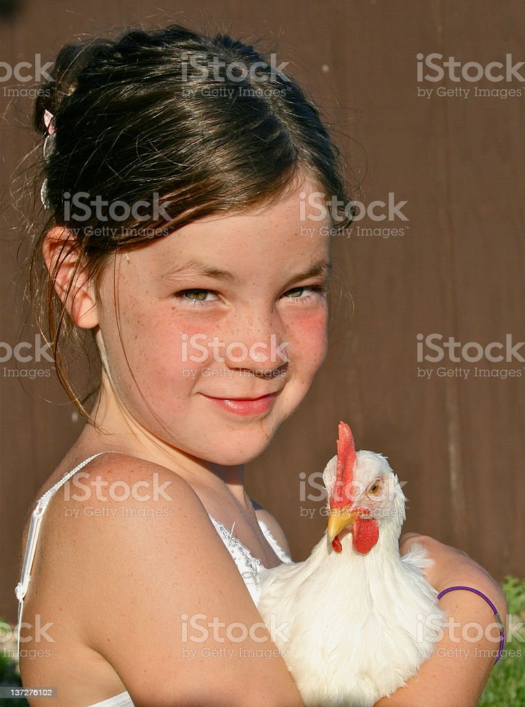 Girl holding chicken at family farm royalty-free stock photo
