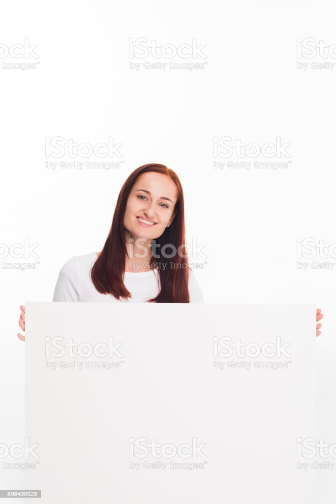 girl holding empty card stock photo